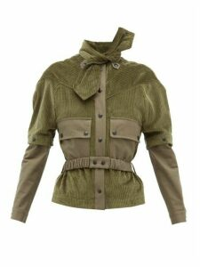 Symonds Pearmain - Neck Tie Detachable Sleeve Cotton Corduroy Jacket - Womens - Khaki