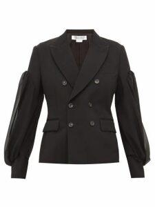 Comme Des Garçons Comme Des Garçons - Balloon Sleeve Double Breasted Wool Blazer - Womens - Black