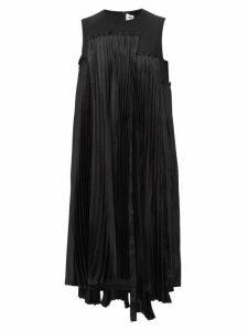 Noir Kei Ninomiya - Plissé Houndstooth Panelled Wool Gabardine Dress - Womens - Black