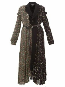 Junya Watanabe - Floral Print Wool Blend And Crepe Coat - Womens - Black Multi
