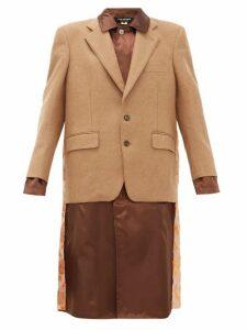 Junya Watanabe - Embroidered Satin Panel Wool Blend Blazer Coat - Womens - Brown Multi