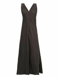 Lee Mathews - Tamara Jacquard Stripe Satin Dress - Womens - Black