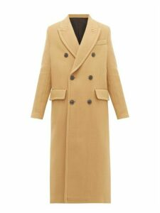 Ami - Double Breasted Virgin Wool Blend Coat - Womens - Camel