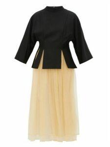 Noir Kei Ninomiya - Layered Gabardine And Tulle Midi Dress - Womens - Black Multi