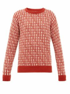 Bode - Signature Logo Jacquard Wool Sweater - Womens - Red