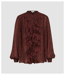 Reiss Pippa - Ruffled Zig-zag Printed Blouse in Red, Womens, Size 16