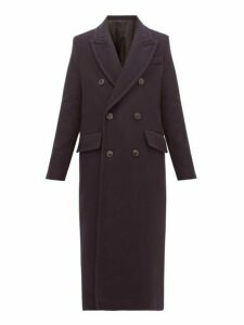 Ami - Double Breasted Virgin Wool Blend Coat - Womens - Navy