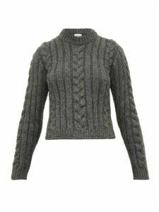 Ganni - Cable Knit Alpaca Blend Sweater - Womens - Grey