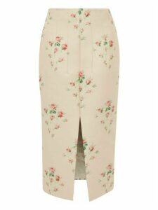 Brock Collection - Floral Jacquard Front Slit Satin Skirt - Womens - Pink Multi