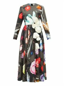 Prada - Rose Print And Silk Appliqué Cotton Poplin Dress - Womens - Black Multi