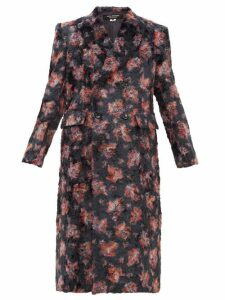 Junya Watanabe - Floral Print Double Breasted Faux Fur Coat - Womens - Black Multi