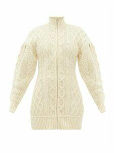 Marine Serre - Roll Neck Cable Knit Wool Sweater Dress - Womens - Cream