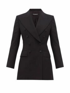 Dolce & Gabbana - Double Breasted Tailored Wool Blend Blazer - Womens - Black