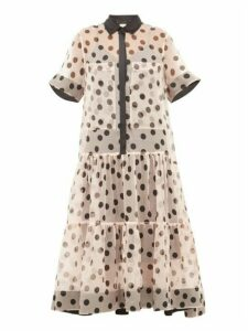 Lee Mathews - Rayne Polka Dot Silk Organza Midi Dress - Womens - Light Pink
