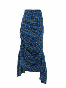 A.w.a.k.e. Mode - Draped Tartan Midi Skirt - Womens - Blue