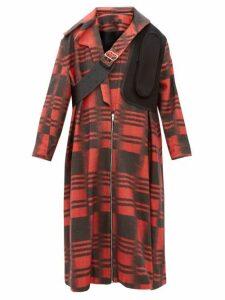Chopova Lowena - Leather Strap Wool Blend Coat - Womens - Black Red