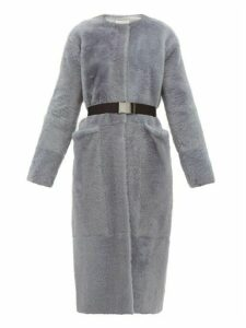 Inès & Maréchal - Flateur Belted Merino Shearling Coat - Womens - Light Grey
