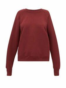 Les Tien - Raglan Sleeve Cotton Sweatshirt - Womens - Burgundy