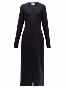 Raey - Zip Front Wool Crepe Midi Dress - Womens - Navy