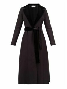 Harris Wharf London - Velvet Trimmed Belted Wool Coat - Womens - Black