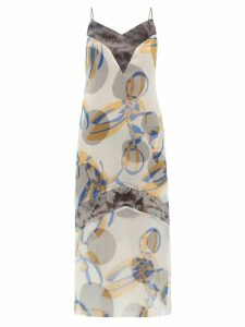 Marina Moscone - Geometric-print Silk-blend Organza Midi Dress - Womens - Blue Multi
