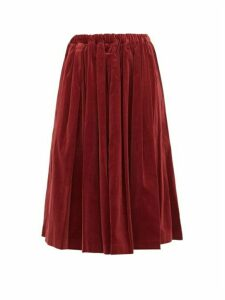 Comme Des Garçons Girl - Pleated Velvet Midi Skirt - Womens - Burgundy