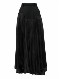 Noir Kei Ninomiya - Pleated Satin And Wool Gabardine Midi Skirt - Womens - Black