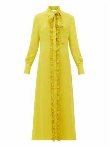 Valentino - Ruffle Trimmed Midi Shirtdress - Womens - Yellow