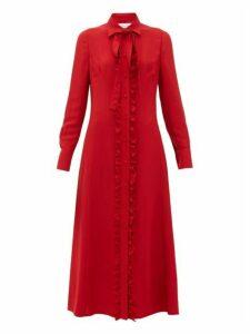 Valentino - Ruffled Crepe Midi Dress - Womens - Red