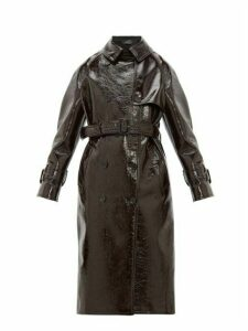 Joseph - Belted Vinyl Coated Wool Blend Trench Coat - Womens - Burgundy