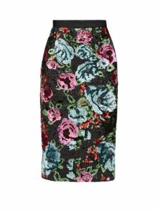 Erdem - Dencia Sequinned Florals Satin Skirt - Womens - Pink Multi