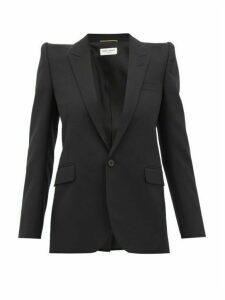 Saint Laurent - Single Breasted Silk Lined Wool Blazer - Womens - Black