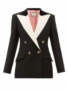 Gucci - Peak Lapel Double Breasted Silk Blend Blazer - Womens - Black White