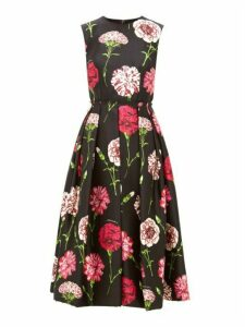 Dolce & Gabbana - Carnation Print Pleated Silk Faille Dress - Womens - Black Multi
