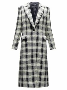 Dolce & Gabbana - Checked Single Breasted Wool Blend Coat - Womens - Black White