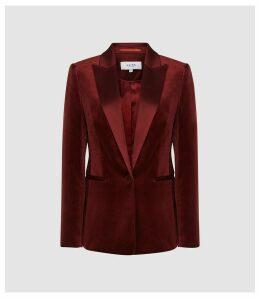 Reiss Vixena - Velvet Blazer in Claret, Womens, Size 14