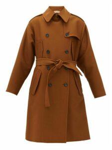No. 21 - Frayed Hem Oversized Trench Coat - Womens - Brown
