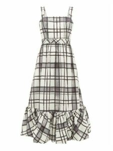 Aje - Sunset Checked Cotton Midi Dress - Womens - White Black