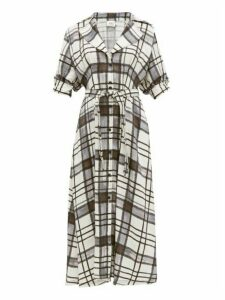 Aje - Theodora Checked Linen Blend Shirtdress - Womens - White Black