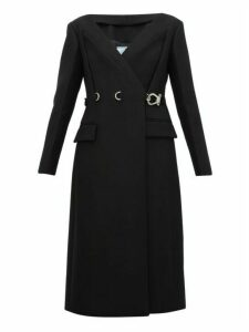 Prada - Carabiner Waist Double Breasted Wool Coat - Womens - Black