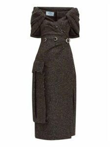 Prada - Cape Panel Wool Blend Tweed Dress - Womens - Black White