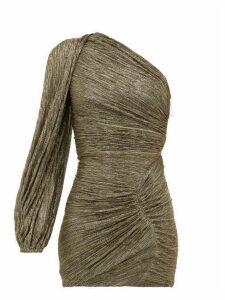 Peter Pilotto - Metallic One Sleeve Ruched Plissé Mini Dress - Womens - Gold