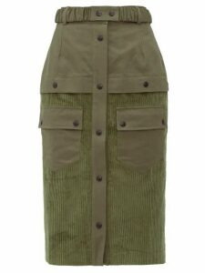 Symonds Pearmain - High Rise Patch Pocket Corduroy Pencil Skirt - Womens - Khaki