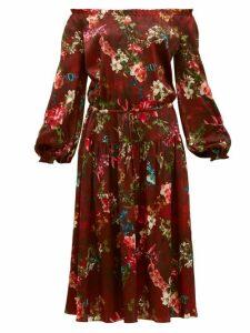 Adriana Iglesias - Creek Grapevine Print Silk Blend Dress - Womens - Burgundy Print