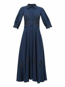 Luisa Beccaria - Chantilly Lace Trim Cady Dress - Womens - Navy Multi