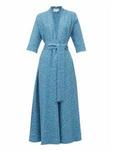 Luisa Beccaria - V Neck Floral Print A Line Dress - Womens - Blue Multi