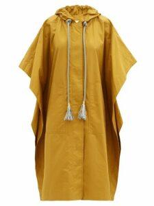 Ssone - Block Hooded Coated Cotton Poncho - Womens - Tan