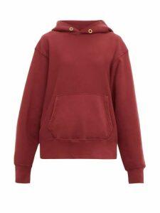 Les Tien - Loop Back Cotton Jersey Hooded Sweatshirt - Womens - Burgundy