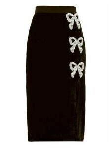 Saloni - Kirsten Bow Embellished Velvet Pencil Skirt - Womens - Black Multi