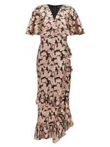 Saloni - Floral Fil Coupé Silk Blend Dress - Womens - Black Pink